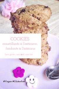 Vous avez envie de cookies croustillants à l'extérieur et moelleux à l'intérieur, mais sans gluten, sans lactose, sans oeuf, l'expérience vous semble compromise ? Testez cette recette, elle va vous bluffer ! #vegan #sansgluten #cookies